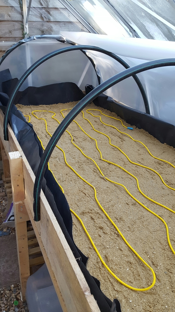 Soil warming cable for heated propagating bed